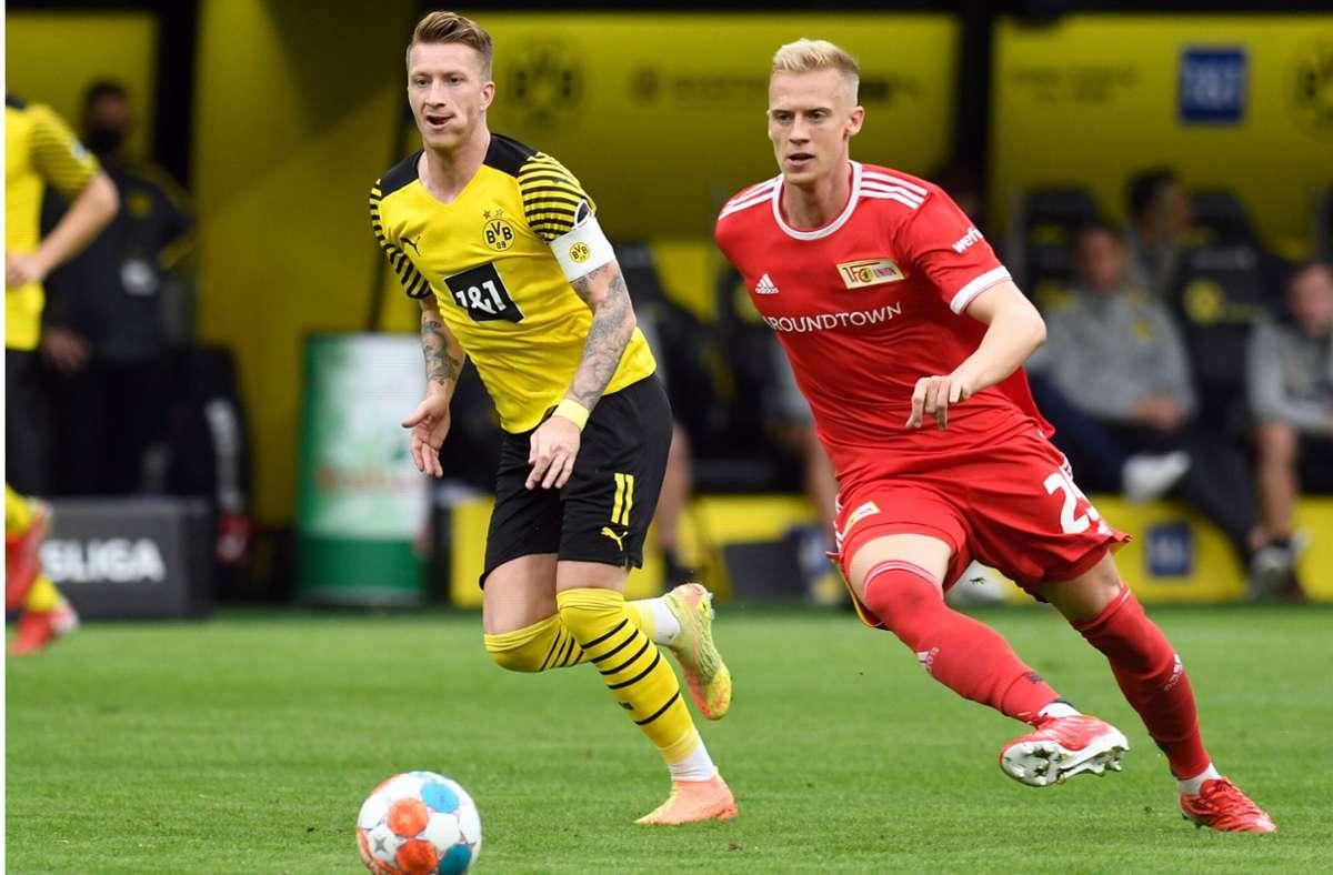 Timo Baumgartl (re.) spielt seit Saisonbeginn für den 1. FC Union Berlin in der Fußball-Bundesliga. Foto: dpa/Bernd Thissen