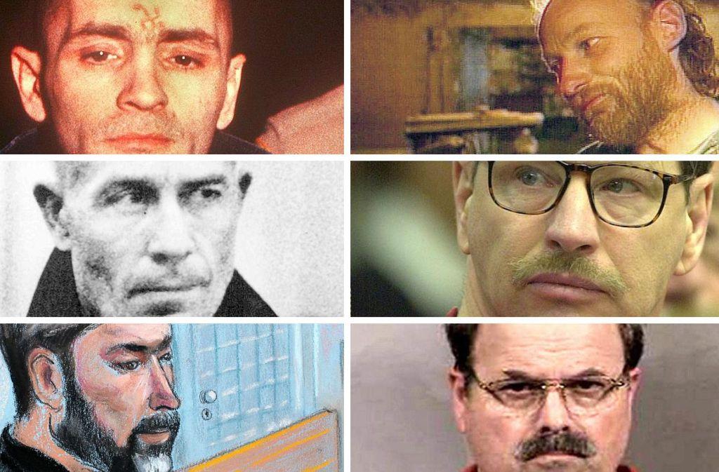 Berüchtigte Serienmörder (von links oben): Charles Manson, Robert William Pickton, Ed Gein, Gary Rigdway, Hans-Jürgen S., Dennis Lynn Rader Foto: dpa