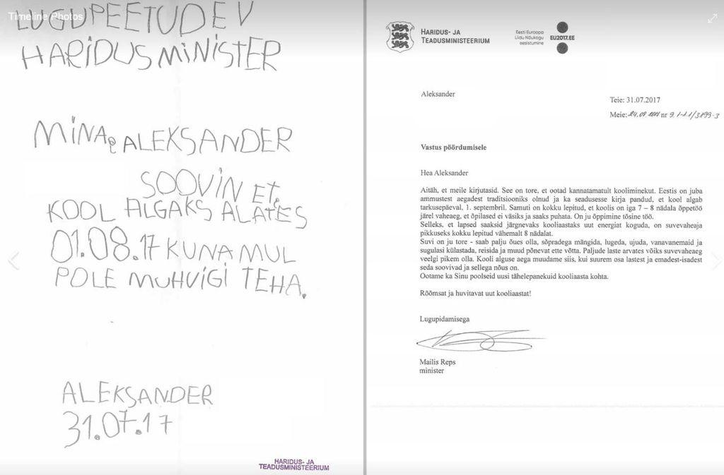 Der Briefwechsel desgelangweilten Schülers mit Bildungsministerin Mailis Reps auf Facebook. Foto: facebook/repsmailis