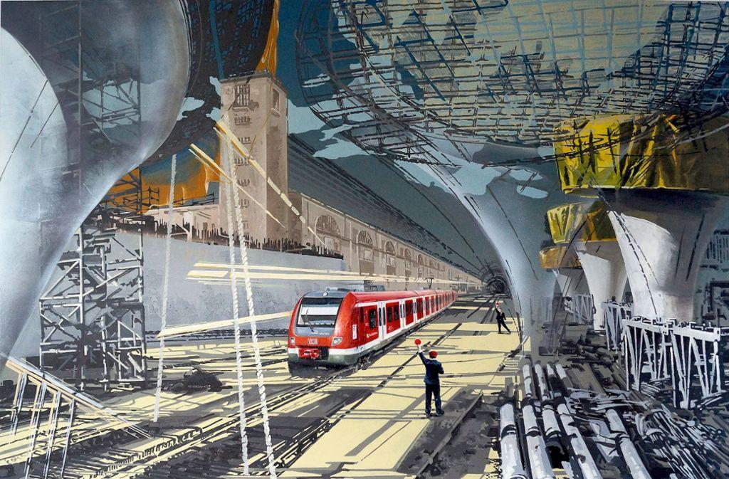 Yulia Kazakova lässt der Stuttgarter Bahnhof nicht los. Für ihre Serie besucht sie die Großbaustelle. Unsere Bildergalerie zeigt mehr Kunst zu Stuttgart 21. Foto: Galerie Z