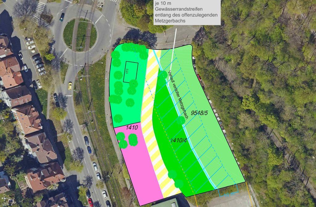 """So sieht die Skizze """"Freiflächen an der Beethovenstraße"""" aus, die das Amt für Stadtplanung und Stadterneuerung erstellt hat. Auf der rosa-gefärbten Fläche soll das Haus der Jugend gebaut werden. Auf dem Flurstück 1410/4 sind Freiflächen für Jugendliche vorge sehen. Und auf der anderen Seite des renaturierten Metzgerbaches soll ein Bürgerpark (9548/5) entstehen. Foto: Stadtplanungsamt"""