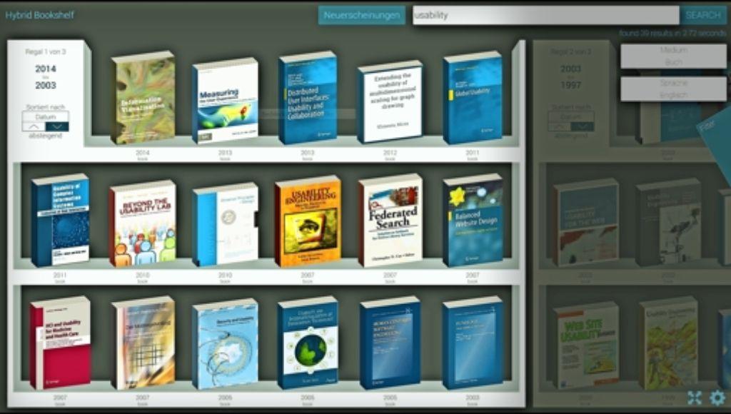 Der Weisheit letzter Schluss? Screenshot des  virtuellen Bücherregals, das an der Konstanzer Uni zum Einsatz kommt. Foto: Universität  Konstanz
