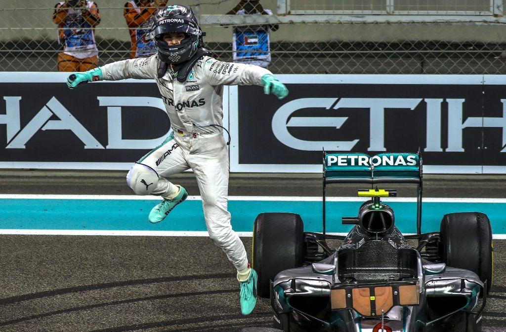 Geschafft: Der Mercedes-Pilot Nico Rosberg gewinnt erstmals die Formel-1-WM. Foto: EPA