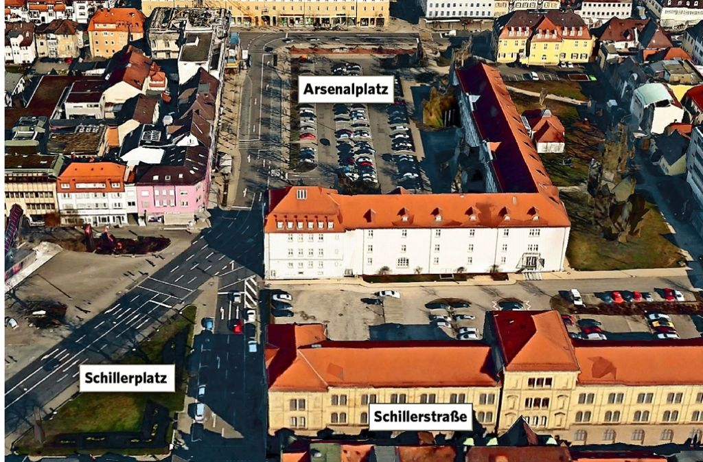 Schiller- und Arsenalplatz sollen umgestaltet werden. Foto: GeoBasis-DE/BKG©2016 Google