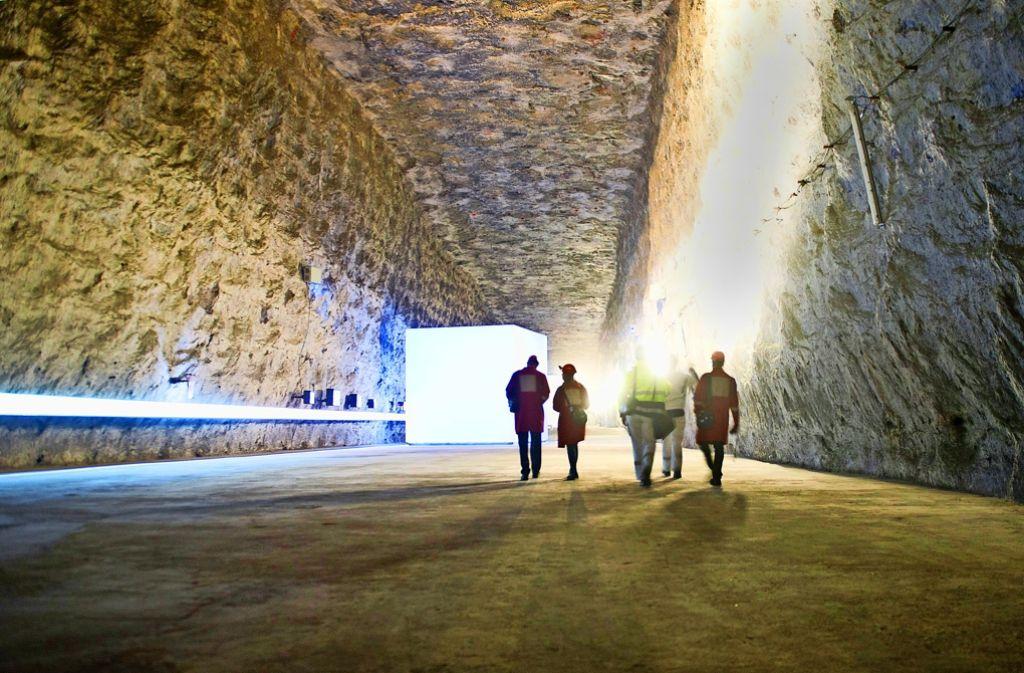 Die sogenannte Geologiekammer im Schaubergwerk Friedrichshall – mit einem 160Meter langen Bohrkern zur Erdgeschichte und einem Info-Kubus zur Salz-Entstehung Foto: dpa