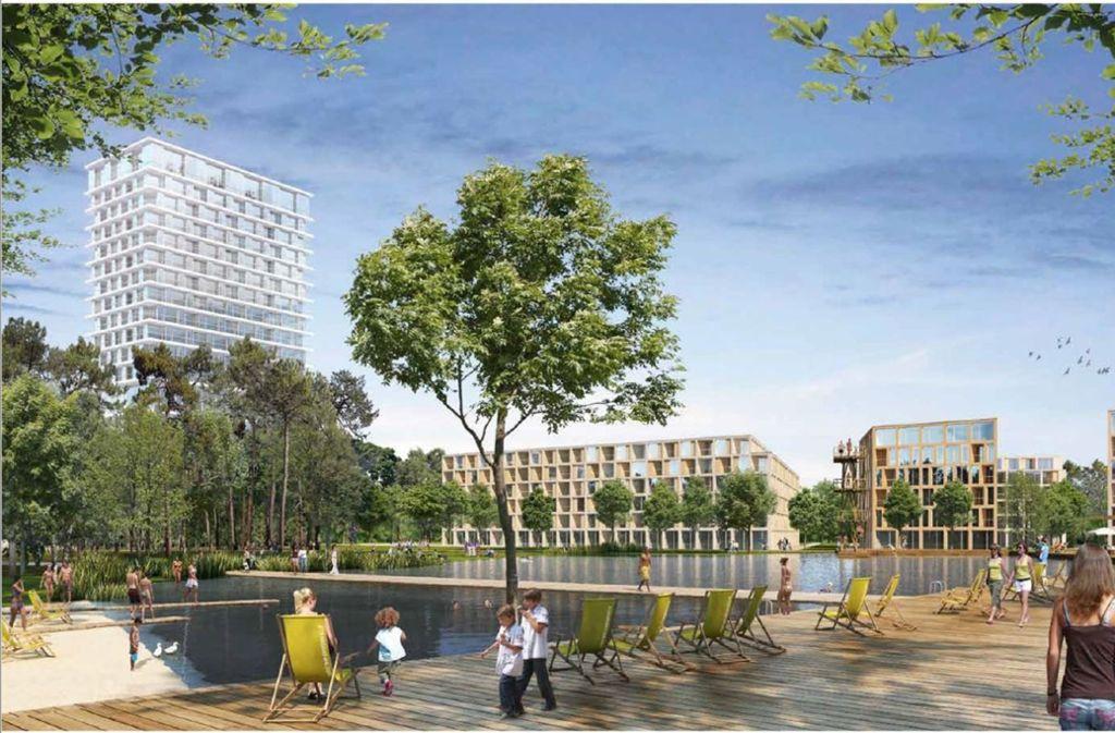 So stellen sich die Architekten das Wohnquartier auf dem Eiermann-Campus vor. Foto: Steidle Architekten