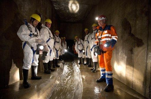 Der Nesenbach rauscht in einer  Rinne durch den Untergrund. Foto: Michael Steinert