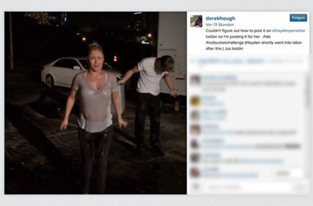 Mutig! Trotz Schwangerschaft nimmt Wladimir Klitschkos Verlobte Hayden Panettiere an der Ice Bucket Challenge teil. Foto: https://instagram.com/p/r7kiCltorA/