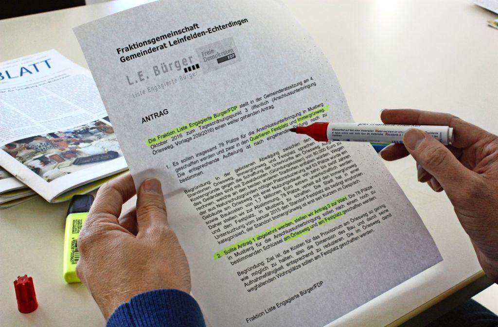Festplatz und Immergrünweg anstatt Örlesweg: Die  L.E.-Bürger/FDP haben mit Anträgen zur Anschlussunterbringung für Wirbel in der Gemeinderatssitzung gesorgt. Foto: Natalie  Kanter