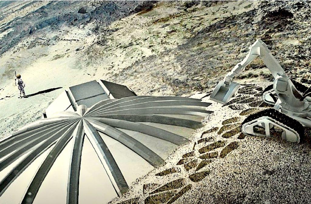 """Der Mond als Sehnsuchtsortarles Duke: Schon 2030 könnten Menschen in ein """"Lunar Village"""" auf dem Erdtrabanten einziehen, hoffen die ESA-Verantwortlichen. Foto: Esa"""