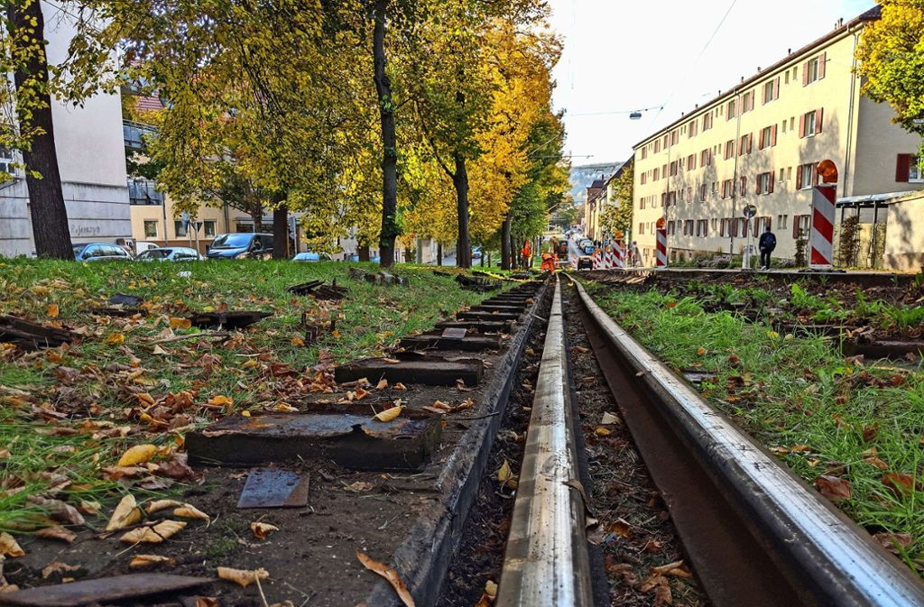 Zwischen den Haltestellen Bergfriedhof und Ostendplatz hat sich der Boden unter den Gleisen gesenkt. Foto: Jürgen Brand