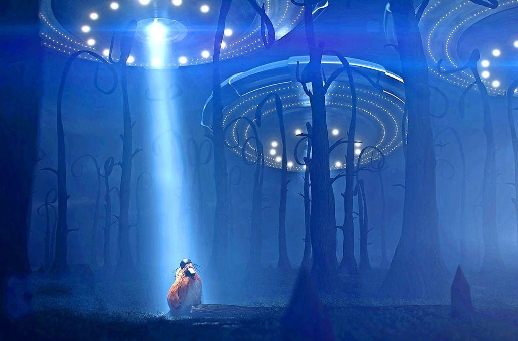 Aliens  – oder doch etwas ganz Irdisches? Bruno, der Biber, erlebt   so einiges in den  Trailern, die Ludwigsburger Animations-Studenten für die FMX angefertigt haben  . Foto: FMX