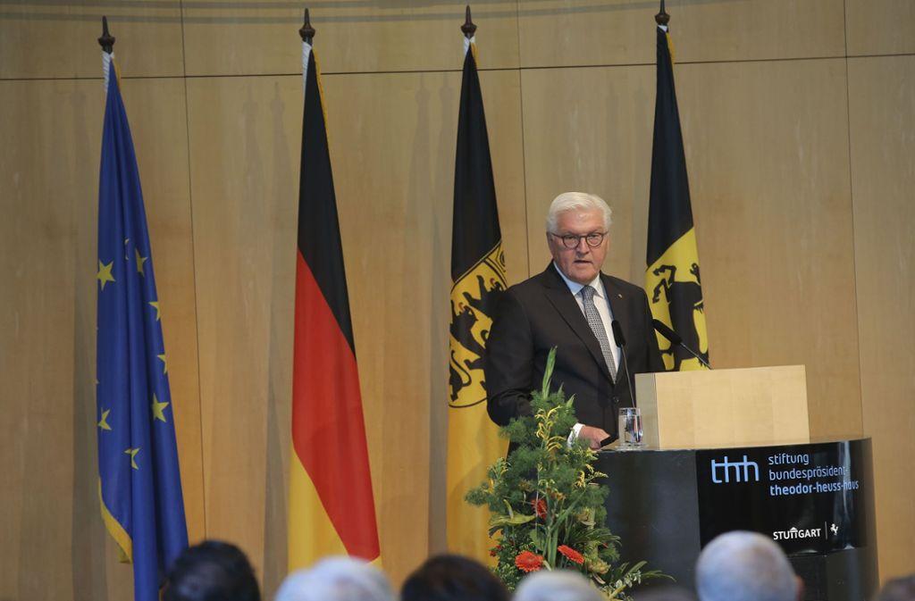Frank-Walter Steinmeier würdigte bei einer Rede im Stuttgarter Rathaus die Verdienste des ersten Staatsoberhaupts. Foto: LICHTGUT/Leif Piechowski