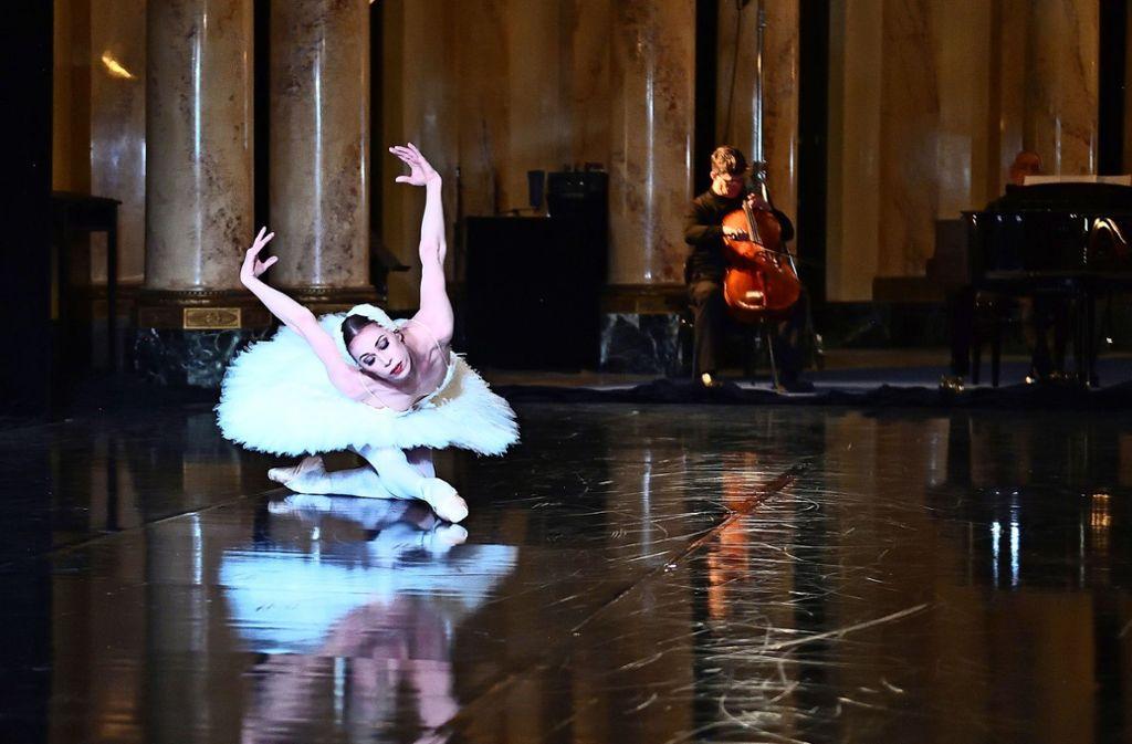 """Im Foyer stirbt der Schwan – Szene aus dem Theaterparcours """"Wir sind aus solchem Stoff wie Träume sind"""" des Stuttgarter Staatstheaters Foto: dpa"""
