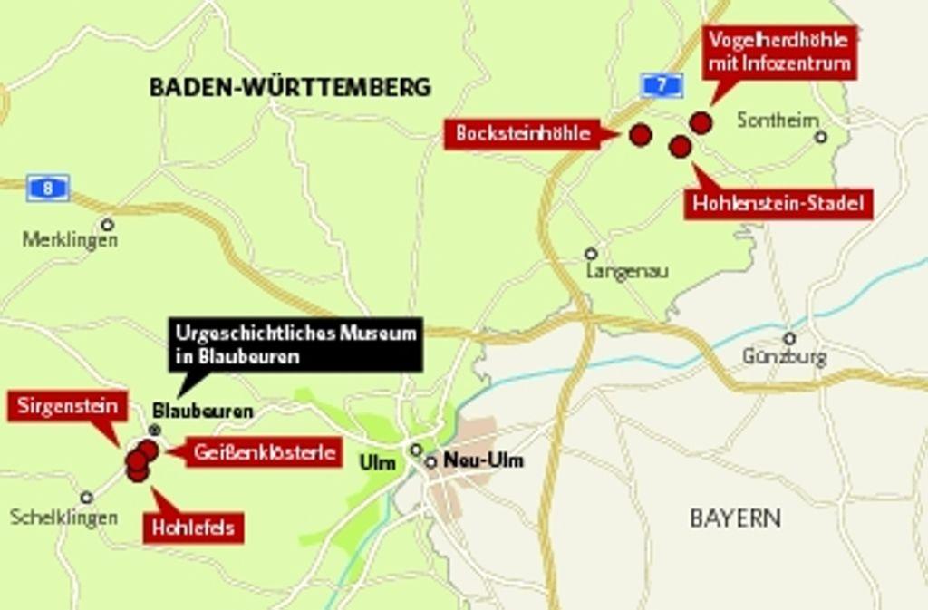 Die sechs Höhlen auf der Schwäbischen Alb, die 2017 zum Unesco-Weltkulturerbe ernannt werden sollen. Foto: StN/StZ-Grafik