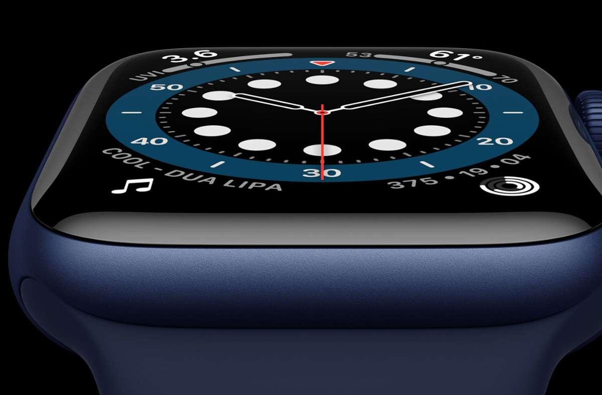 Der Chip in der Apple Watch Series 6 soll um 20 Prozent schneller sein als im Vorgängermodell. Foto: dpa/---