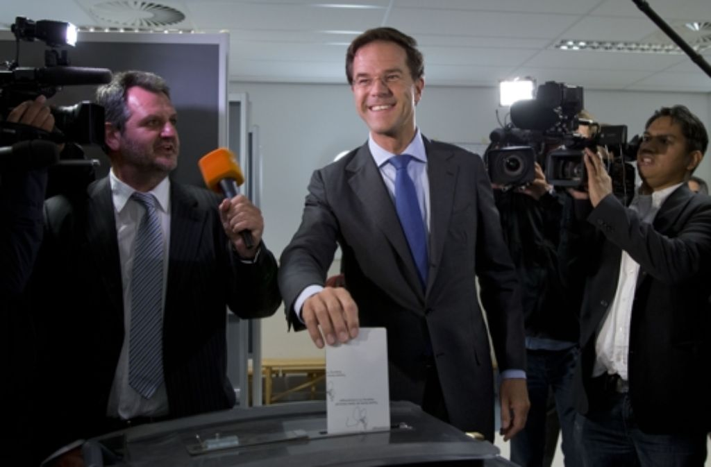 Wahlsieger Mark Rutte bei der Stimmabgabe Foto: AP