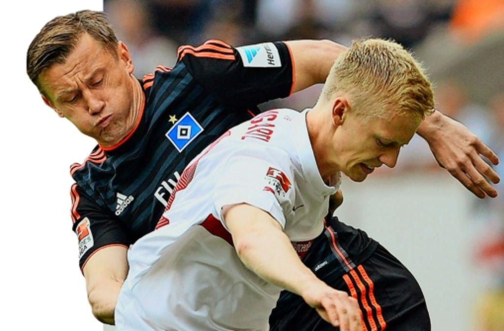 Kampf um den Ball: Timo Baumgartl vom VfB (vorn) und Ivica Olic vom HSV Foto: dpa