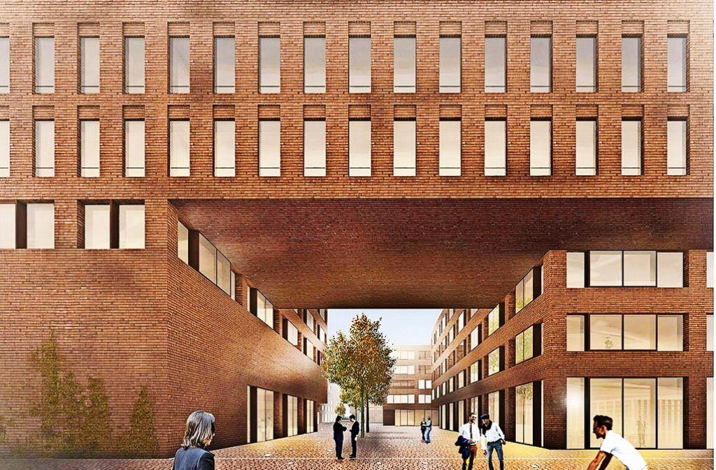 So soll der Eingang auf den Campus Neue Weststadt vom dann neuen Quartiersplatz aus in  der Schlachthausstraße   aussehen. Foto: Büro Bär Stadelmann Stöcker Architekten
