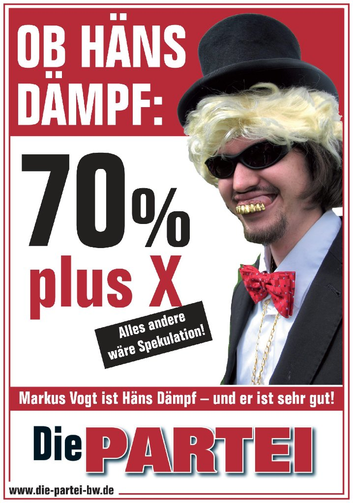 Ein Flyer von OB-Kandidat Markus Vogt alias Häns Dämpf: 70 Prozent plus X sind sein Ziel. Foto: Markus Vogt