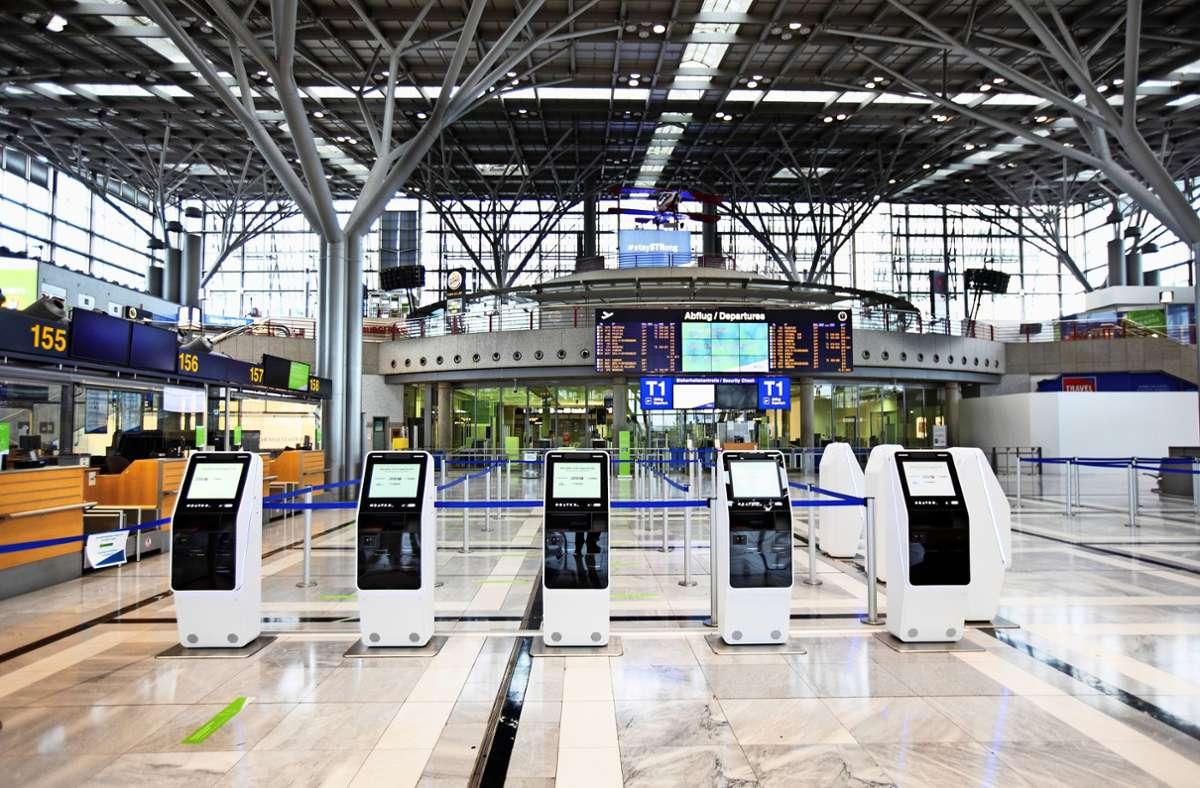 Große Leere über weite Strecken des Jahres: Der Flughafen Stuttgart verzeichnete 2020 viel weniger Reisende. Foto: Horst Rudel