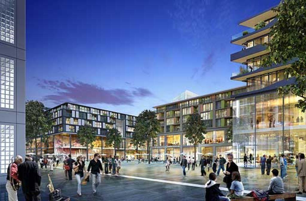 Die geplanten drei Baublöcke des umstrittenen Einkaufszentrums mit 400 Wohnungen darüber sollen sich zum Mailänder Platz hin öffnen. Foto: Visualisierung: ECE