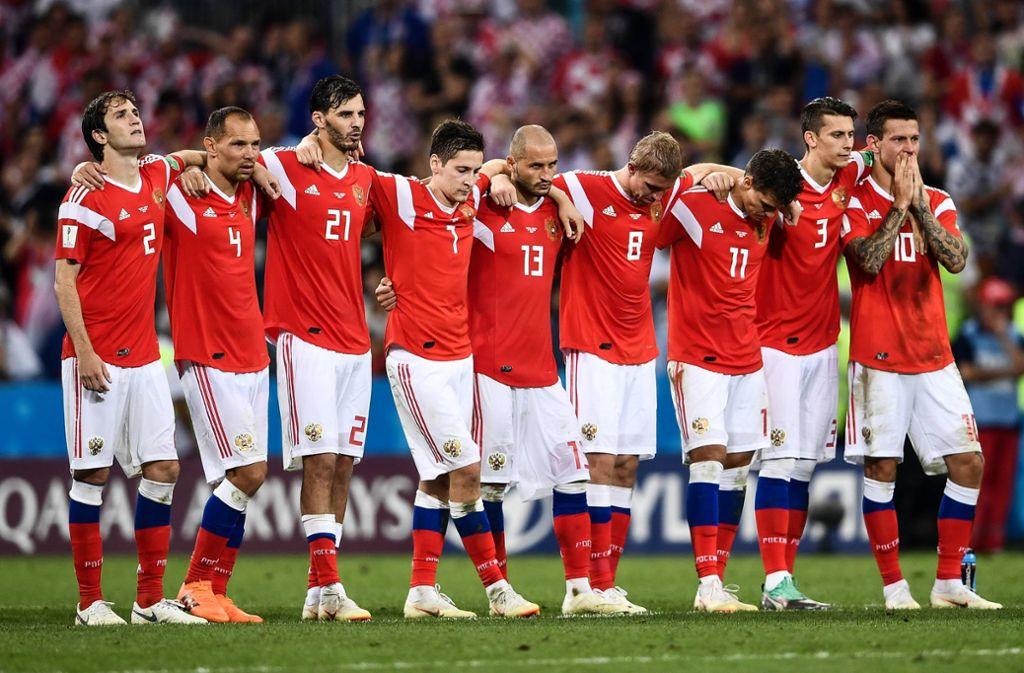 Die russischen Fußballer waren bei der Heim-WM 2018 im Viertelfinale an Kroatien gescheitert. Foto: imago/Imaginechina/Zhong zhenbin