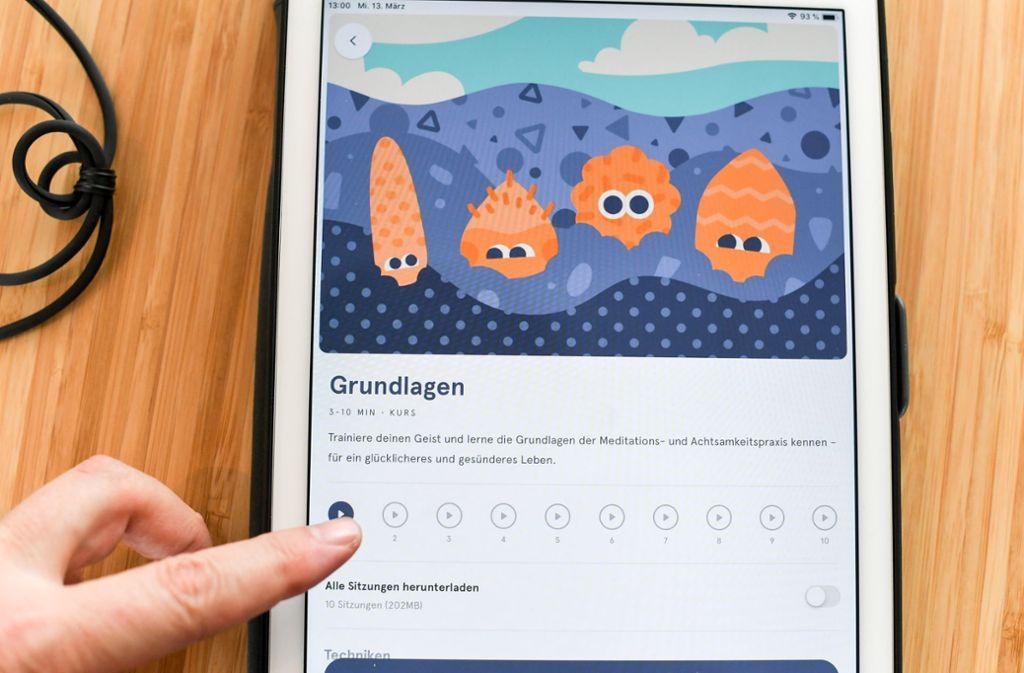 Die Meditations-App Headspace hat weltweit 42 Millionen Nutzer. Foto: ZB