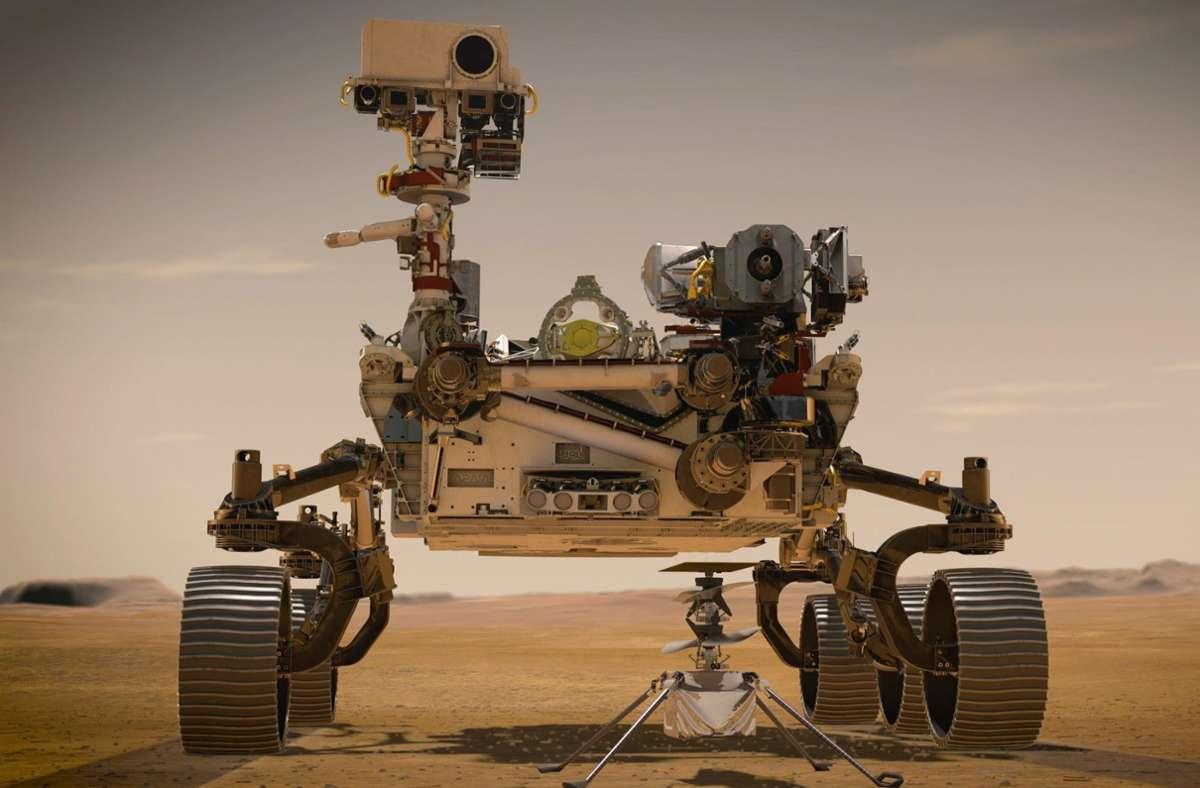 """Die grafische Darstellung zeigt den Nasa-Rover """"Perseverance"""" auf der Marsoberfläche im Einsatz. Foto: Nasa/JPL-Caltech/dpa"""
