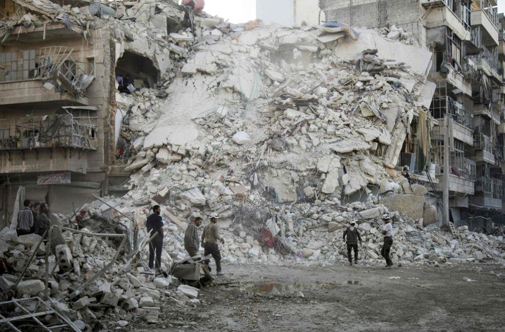 Die türkische Luftwaffe hat syrisch-kurdische Kämpfer getötet. Das Archivbild zeigt die völlig zerstörte Stadt Aleppo. Foto: AFP