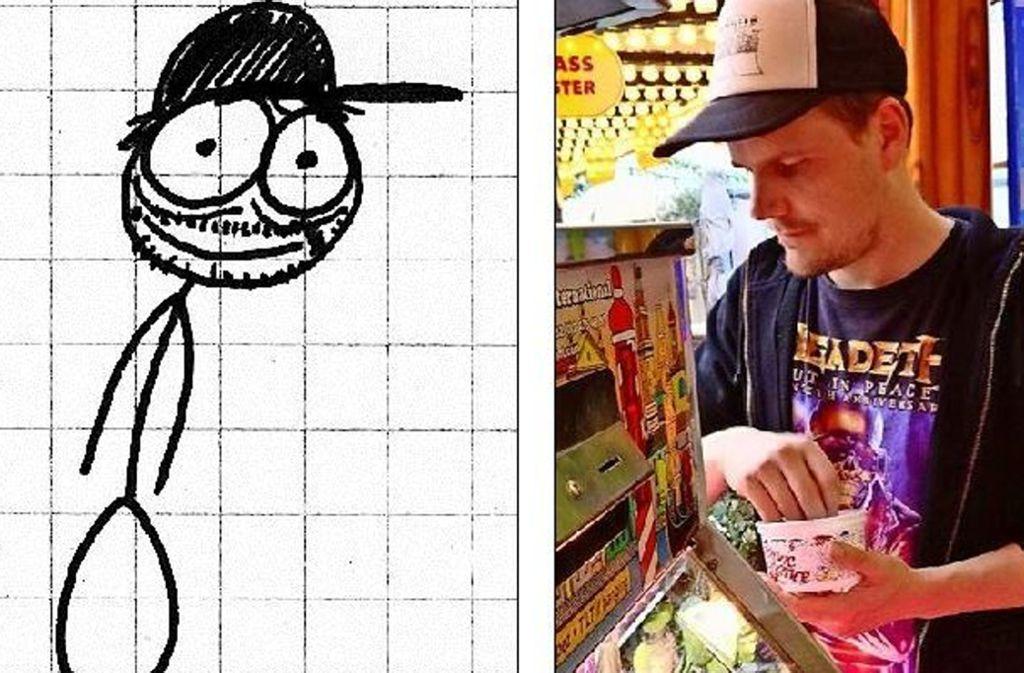 Cap, Bart, wacher Blick: Der Zeichner Andre Lux, wie er sich selbst sieht, und in echt Foto: privat