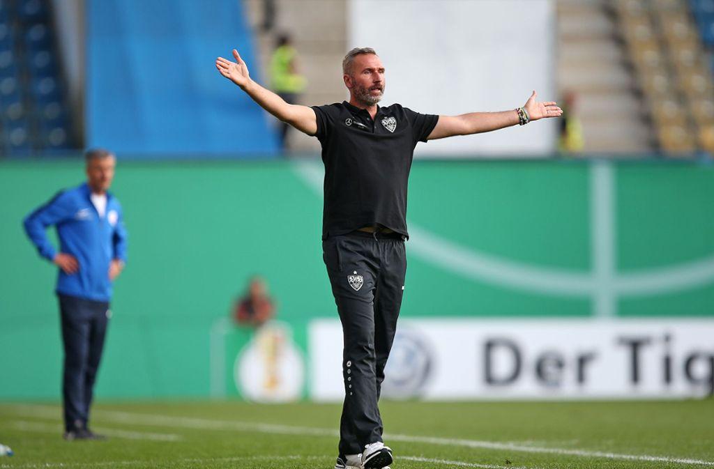 Der VfB Stuttgart mühte sich an der Ostsee zu einem knappen Erfolg. Foto: Pressefoto Baumann