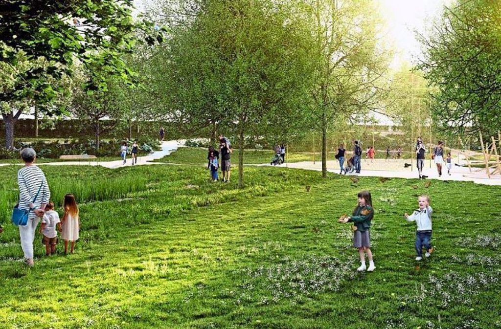 So soll der neue Park in Ludwigsburg aussehen. Foto: Koeber Landschaftsarchitektur GmbH