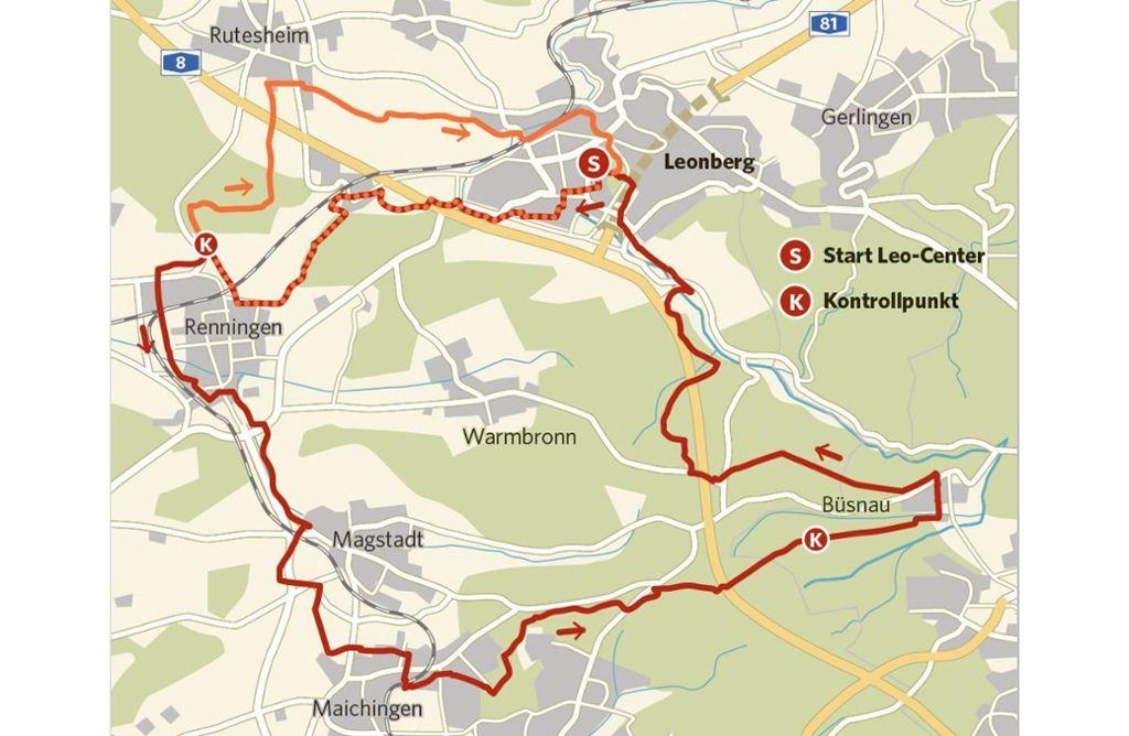 Die beiden Strecken bei der Tour de Natur: 20 Kilometer (orange) und 42 Kilometer (rot) Foto: StZN/Zapletal
