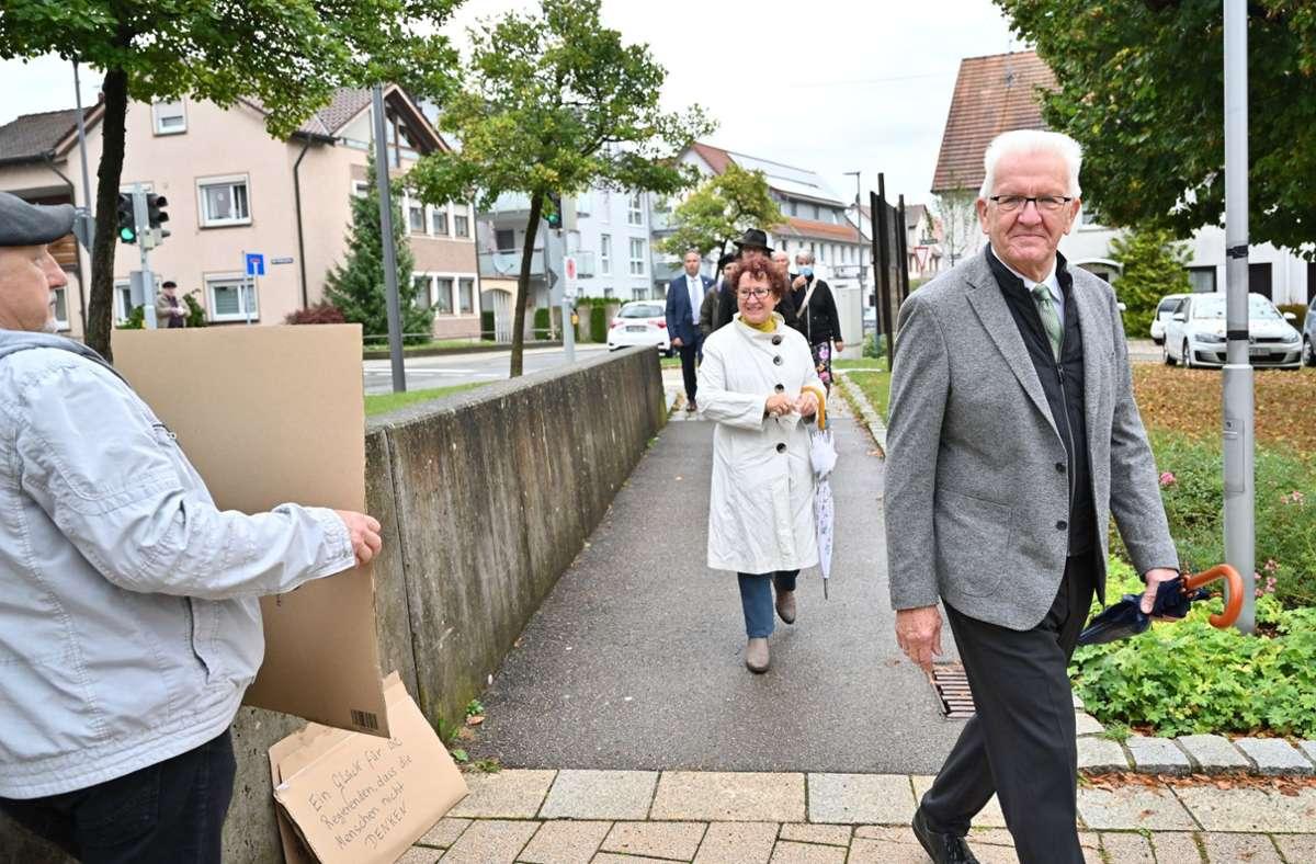 Ministerpräsident Winfried Kretschmann mit Frau Gerlinde am Wahlsonntag Foto: dpa/Felix Kästle
