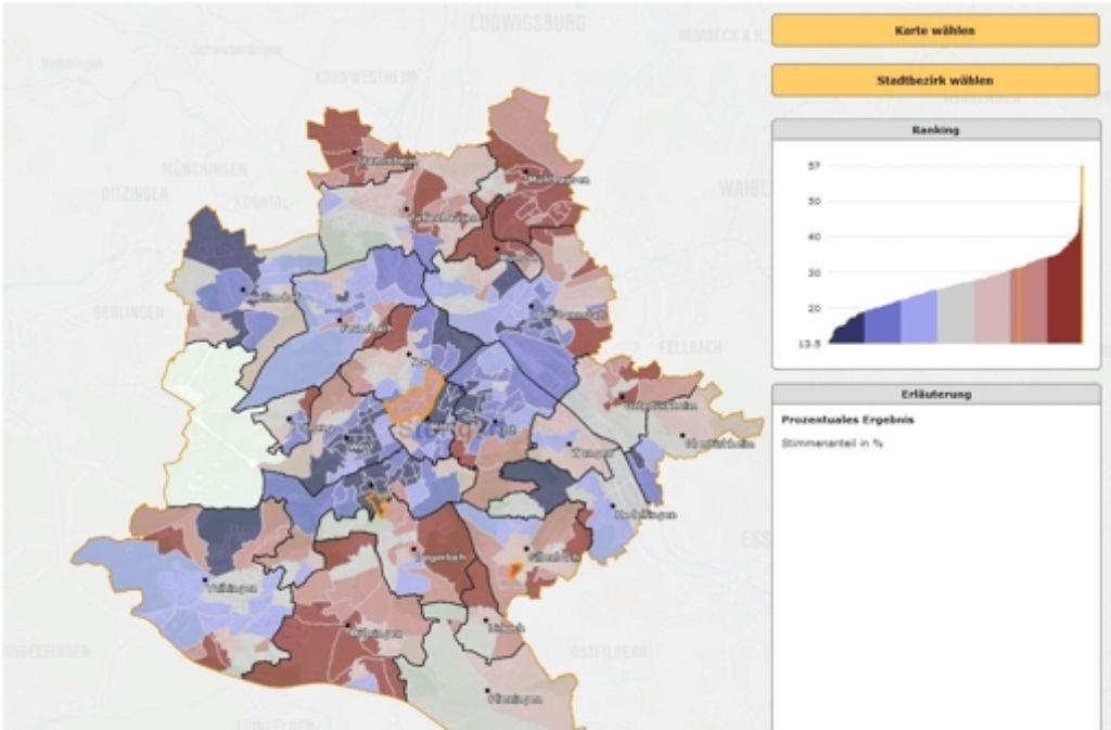 Diese Karte zeigt, wo die CDU ihre Hochburgen hat. Und die detaillierte Auswertung des Kommunalwahlergebnisses in Stuttgart lässt noch ganz andere überraschende Einblicke zu. In der folgenden Bilderstrecke stellen wir zudem das Ergebnis nach Parteien und Bündnissen vor. Foto: Stadt Stuttgart (Screenshot)