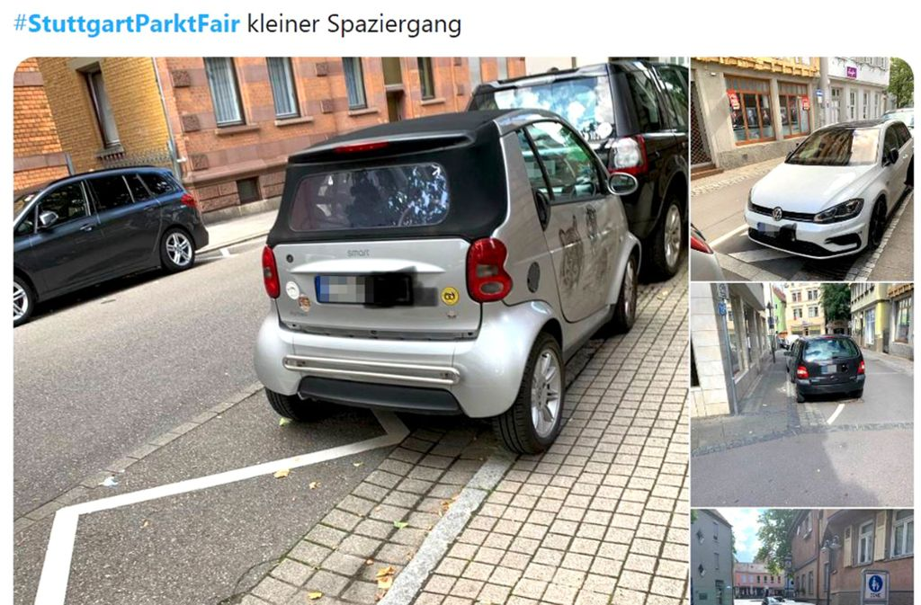 Der Internetpranger sammelt Fotos von Falschparkern in Stuttgart. Foto: Screenshot