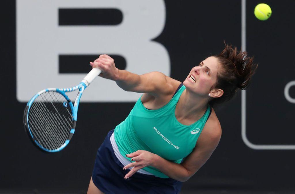 Titelverteidigerin Julia Görges musste sich gegen die ehemalige Weltranglisten-Erste Caroline Wozniacki aus Dänemark geschlagen geben. Foto: AFP/MICHAEL BRADLEY