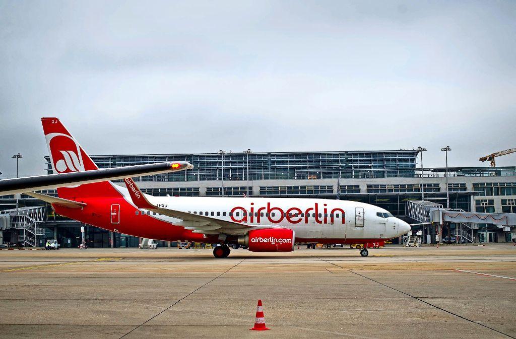 Air Berlin bewegt sich auf neuem  Kurs. Ihr Passagieranteil in Stuttgart von 17,5 Prozent im Jahr 2016 wird in diesem Jahr wohl  auf 13 Prozent  sinken. Foto: Lichtgut/Max Kovalenko