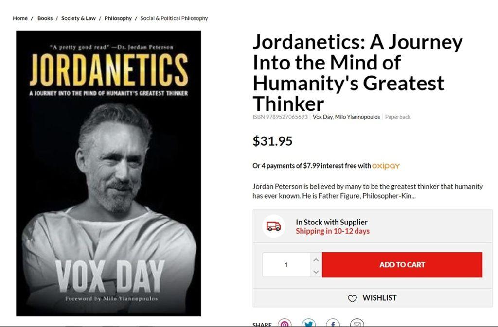 Jordan Petersons Bücher verkauft Neuseelands größte Buchhandelskette nicht mehr. Ein Buch über den kanadischen Denker kann man aber noch bestellen. Foto: Screenshot