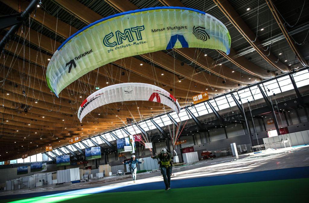 Den Bereich Thermik, mit einem Simulator für Gleitschirmflüge, gibt es in diesem Jahr erstmals auf der CMT. Foto: Lichtgut/Leif Piechowski