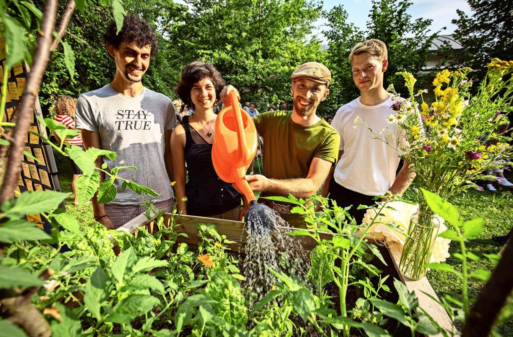Wolfgang Endres, Laura Fröhlich, Sven Hahn und Jacob Jeutter (von links) zeigen, wie leicht sich zwei Hochbeete in grüne Pflanzenoasen verwandeln lassen. Foto: Michael Steinert