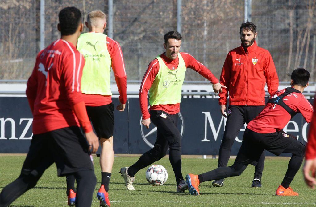 Hohe Intensität war im VfB-Training am Dienstagvormittag zu beobachten. Foto: Pressefoto Baumann