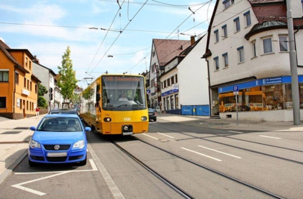 Hier fährt die  U15 nach Stammheim, aber einmal am Tag, um 7.11 Uhr,  macht  die Stadtbahn eine Extratour nach Mönchfeld,  um  Schüler zu transportieren. Foto: Archiv  Lederer