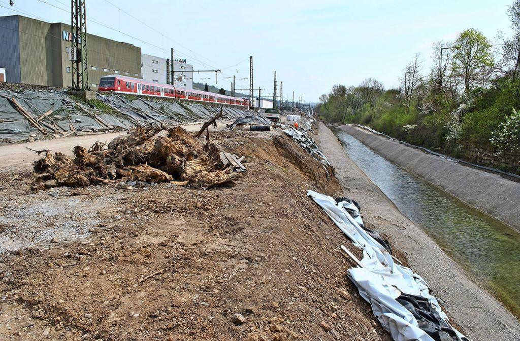 Im  ausgebauten Ulbach wird eine Spundwand eingesetzt und  der einstige Schillerradweg aufgefüllt, damit der provisorische Bahndamm mit  Gleisen verschoben werden kann. Später wird dieser wieder zurückgebaut. Foto: Elke Hauptmann