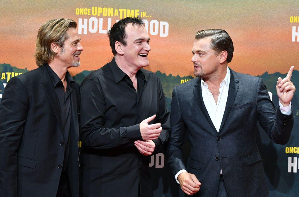 """Es war einmal in Berlin: Brad Pitt, Quentin Tarantino und Leonardo DiCaprio (von links) bei der Deutschlandpremiere von """"Once upon a time...in Hollywood"""". Foto: dpa"""