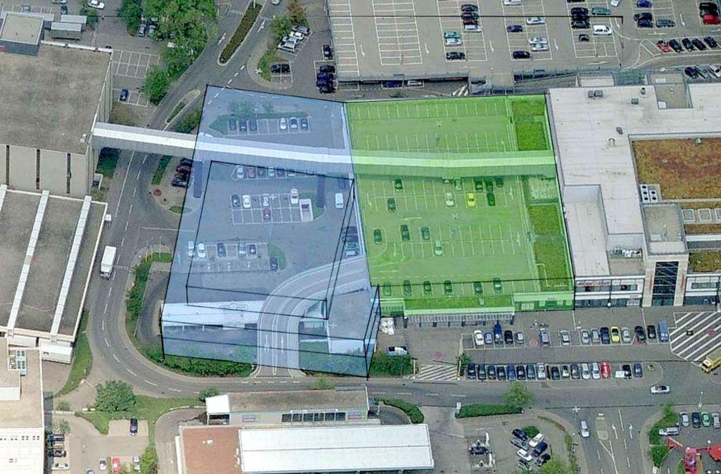 So sehen die Pläne für die Erweiterung aus: Das Breuningerland will 9800 Quadreatmeter mehr. Foto: StZ