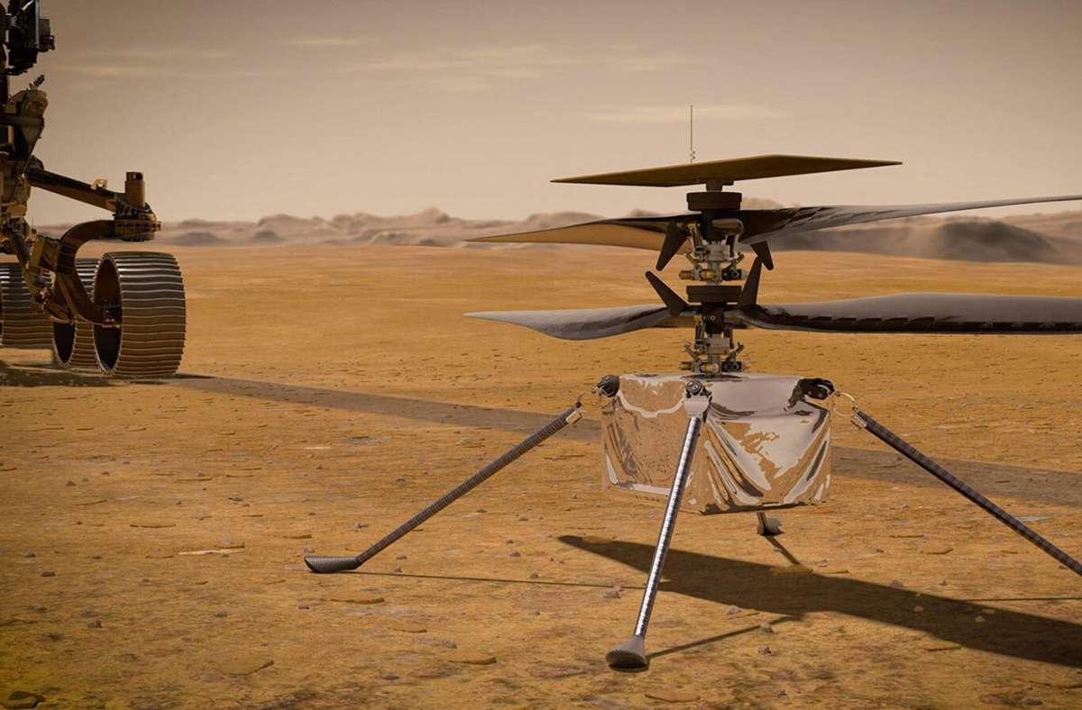 """Der kleine Mars-Heli """"Ingenuity"""". Foto: AFP/HANDOUT"""