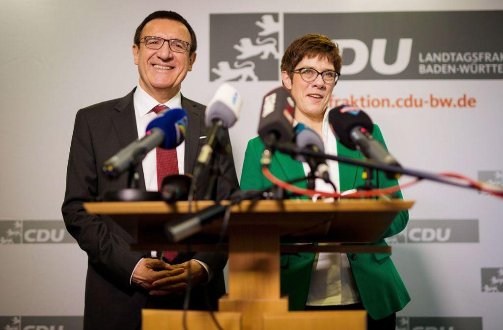 Vor einem Jahr: Wolfgang Reinhart und Annegret Kramp-Karrenbauer Foto: dpa/Christoph Schmidt