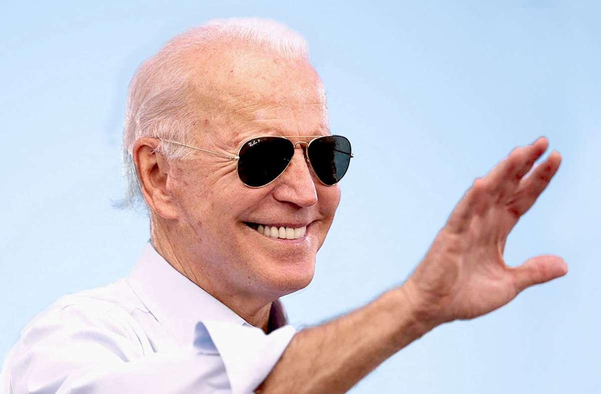 Der US-Präsident Joe Biden mit seiner Pilotenbrille. Foto: AFP/JIM WATSON